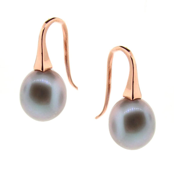 NEW Colour-Rose gold Medium Grey Pearl 'ShortDrop'  earring
