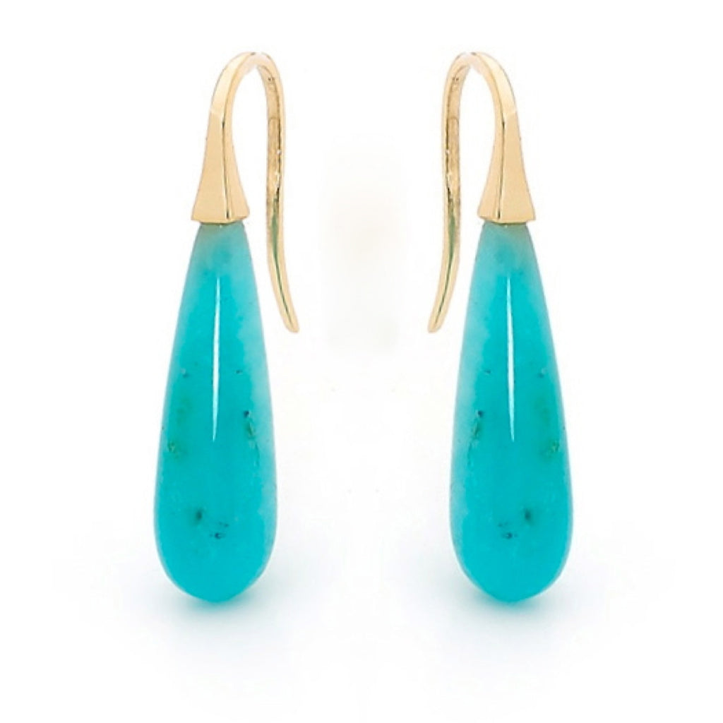 Yellow Gold Amazonite  Short Drop earrings