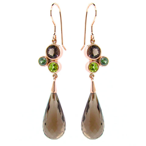 Rose Gold Brown & Green 'Bubble Drop' Earrings