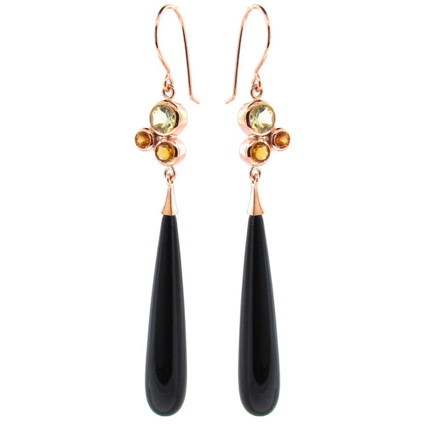 Rose Gold 'Bubble' Onyx Drop Earrings