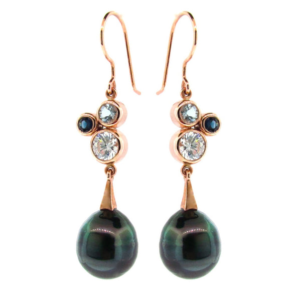 Rose Gold Blue 'Bubble' Drop Earrings