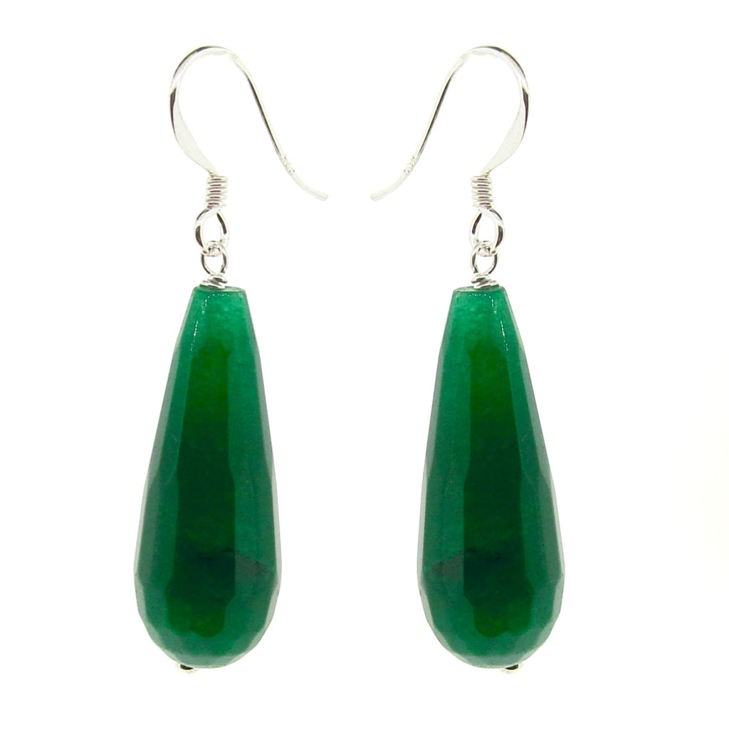 Green Jade Briolette long drop earrings