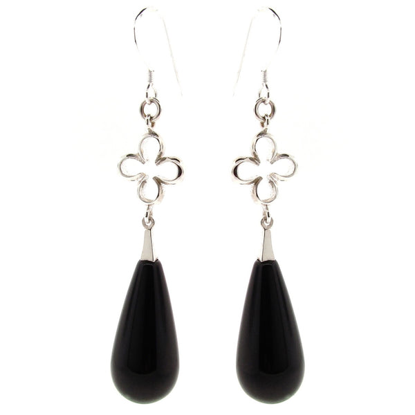 Sterling Silver & Onyx 'Luck'  Earrings