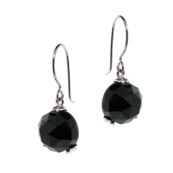Silver 'Era' Onyx drop earrings
