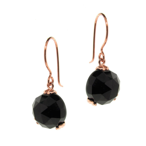 Rose Gold 'Era' Onyx drop earrings