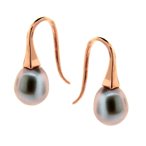 NEW Colour-Rose Gold Small Grey Pearl 'ShortDrop' Earrings