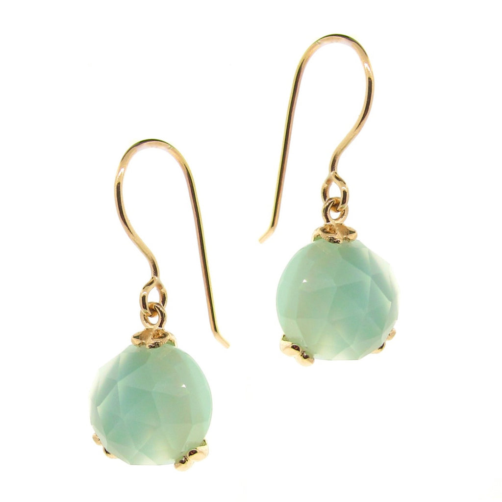 Yellow Gold 'Era' Chalcedony drop earrings