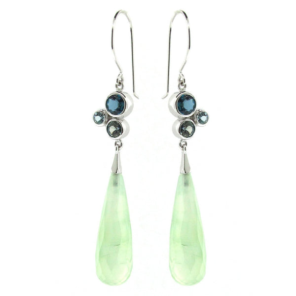 White Gold Green & Blue 'Bubble Drop' Earrings
