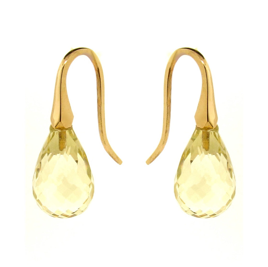 Yellow Gold Lemon Quartz 'ShortDrop' earrings