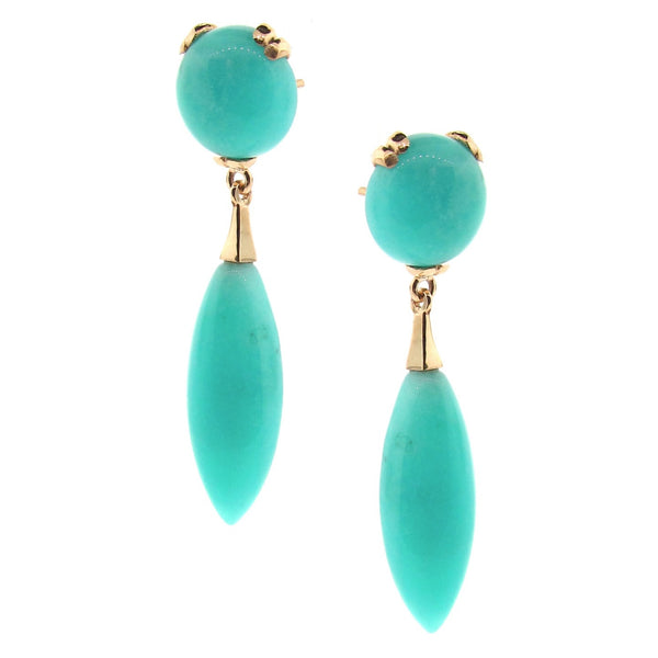 Yellow Gold Amazonite  '50's Era' earrings