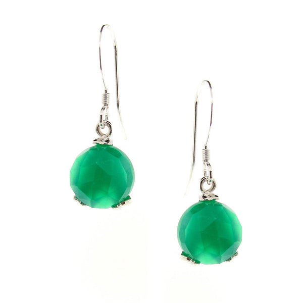 Silver 'Era' Green Onyx Small drop earrings