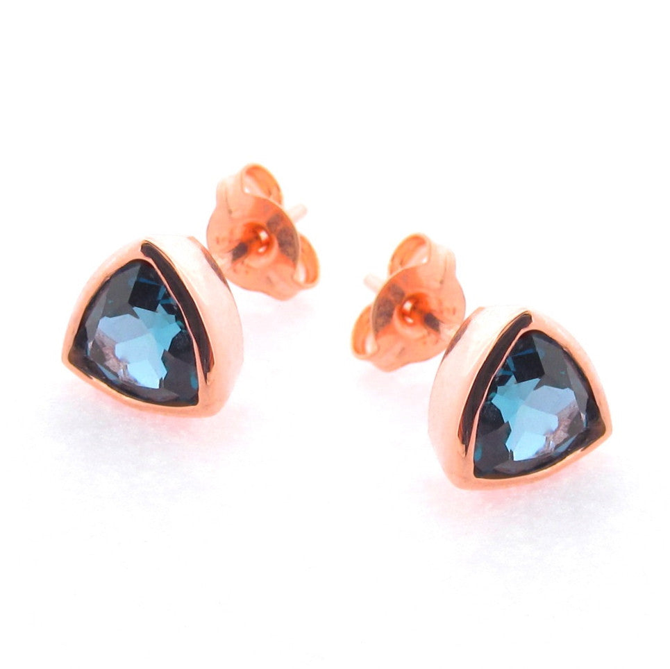 Rose Gold London Blue Trinity Stud Earrings