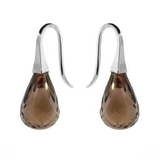 White Gold Smokey Quartz 'ShortDrop' earrings
