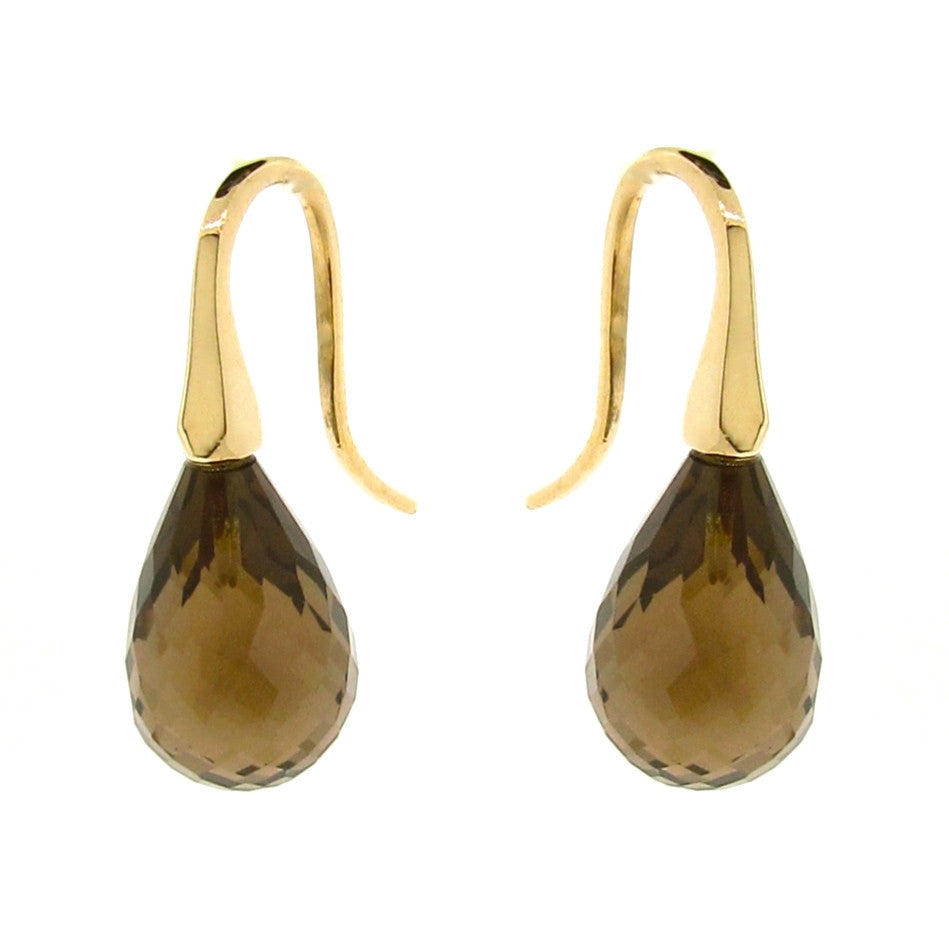 Yellow Gold Smokey Quartz 'ShortDrop' earrings