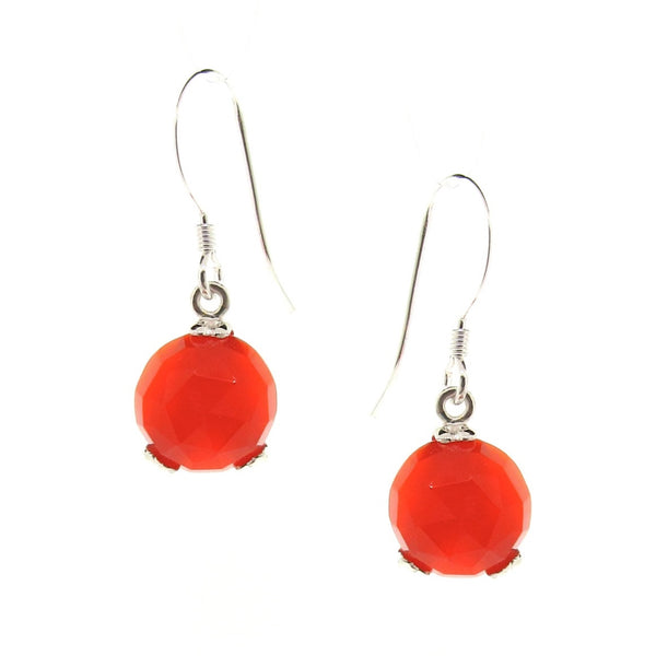 Silver 'Era' Carnelian Small drop earrings