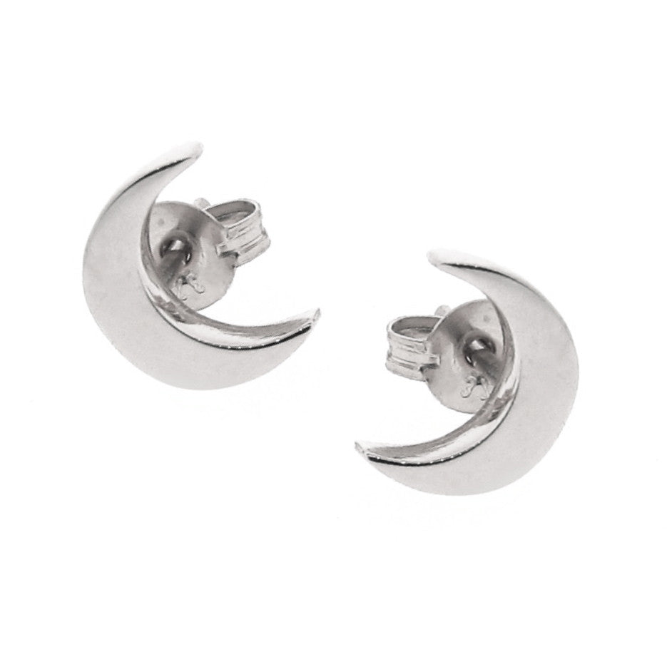 White Gold 'Baby Moon' Stud Earrings
