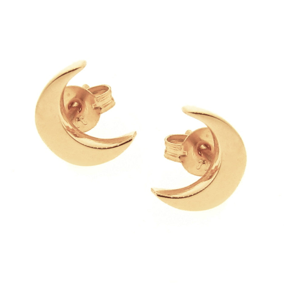 Yellow Gold 'Baby Moon' Stud Earrings