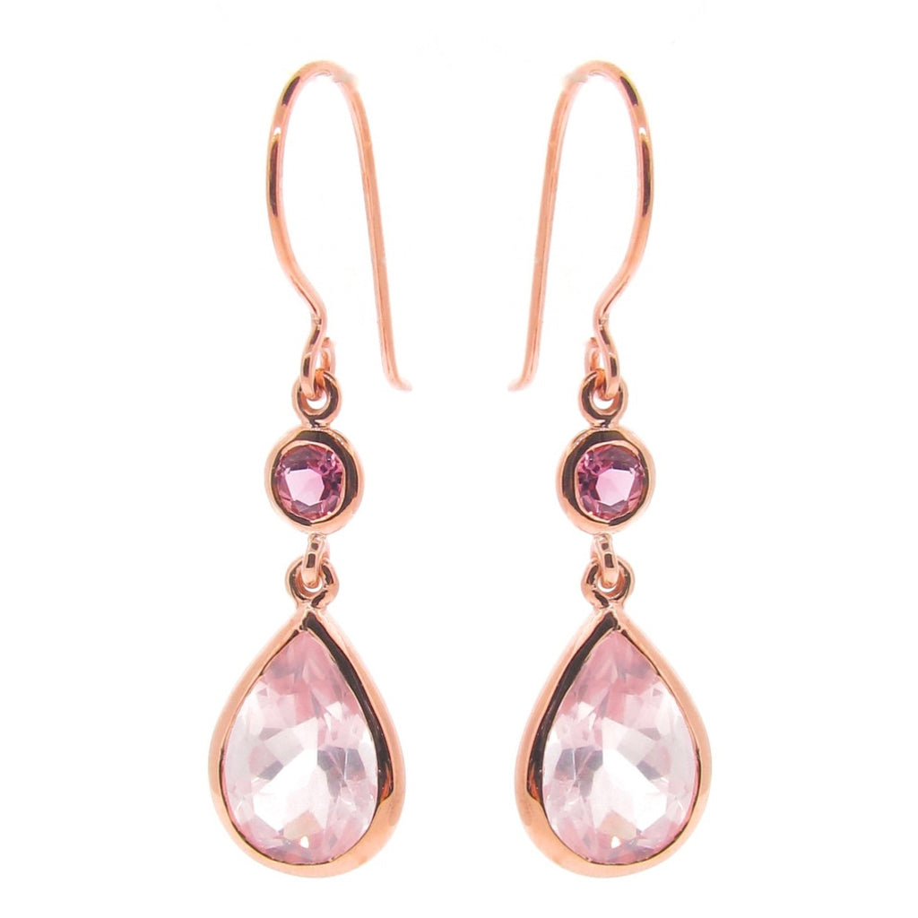 Rose Gold 'Coloured Love' double drop earrings