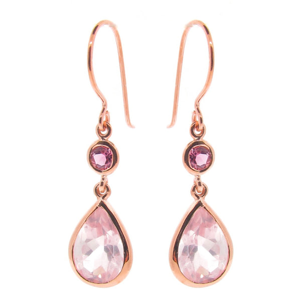 Rose Gold Coloured Love double drop earrings