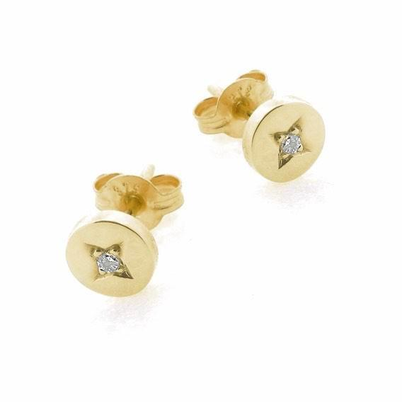 Yellow Gold and Diamond Eclipse Stud Earrings