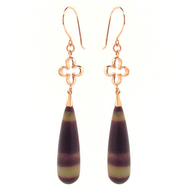 Rose Gold Rainbow Jasper 'Luck' Earrings