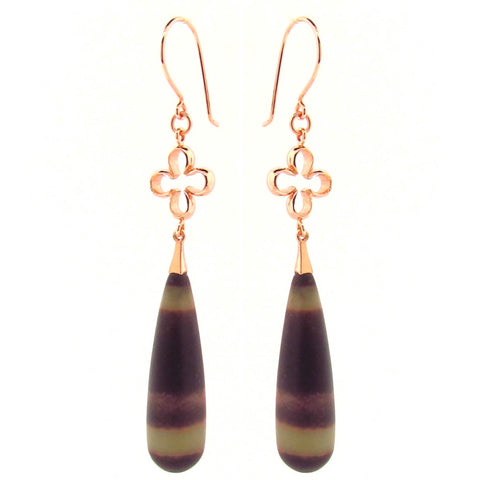 Rose Gold Rainbow Jasper 4 Leaf Clover Earrings