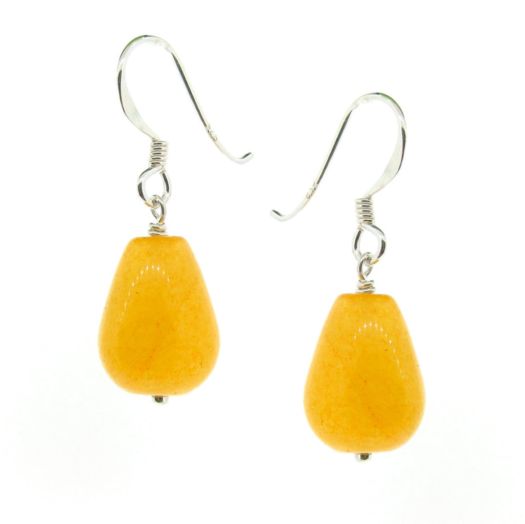 Yellow Jade small drop earrings