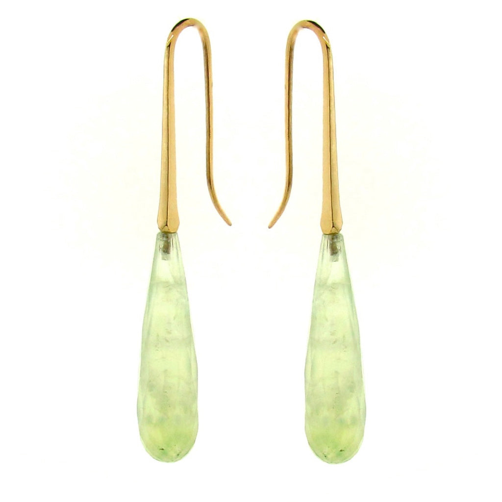 Yellow Gold Prehnite 'LongDrop' earring