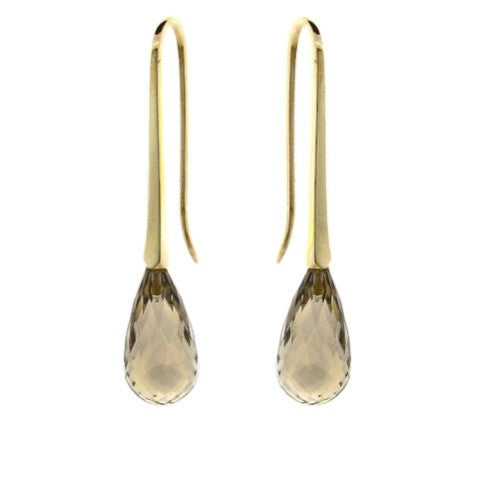 Yellow Gold Smokey Quartz 'MediumDrop' earrings