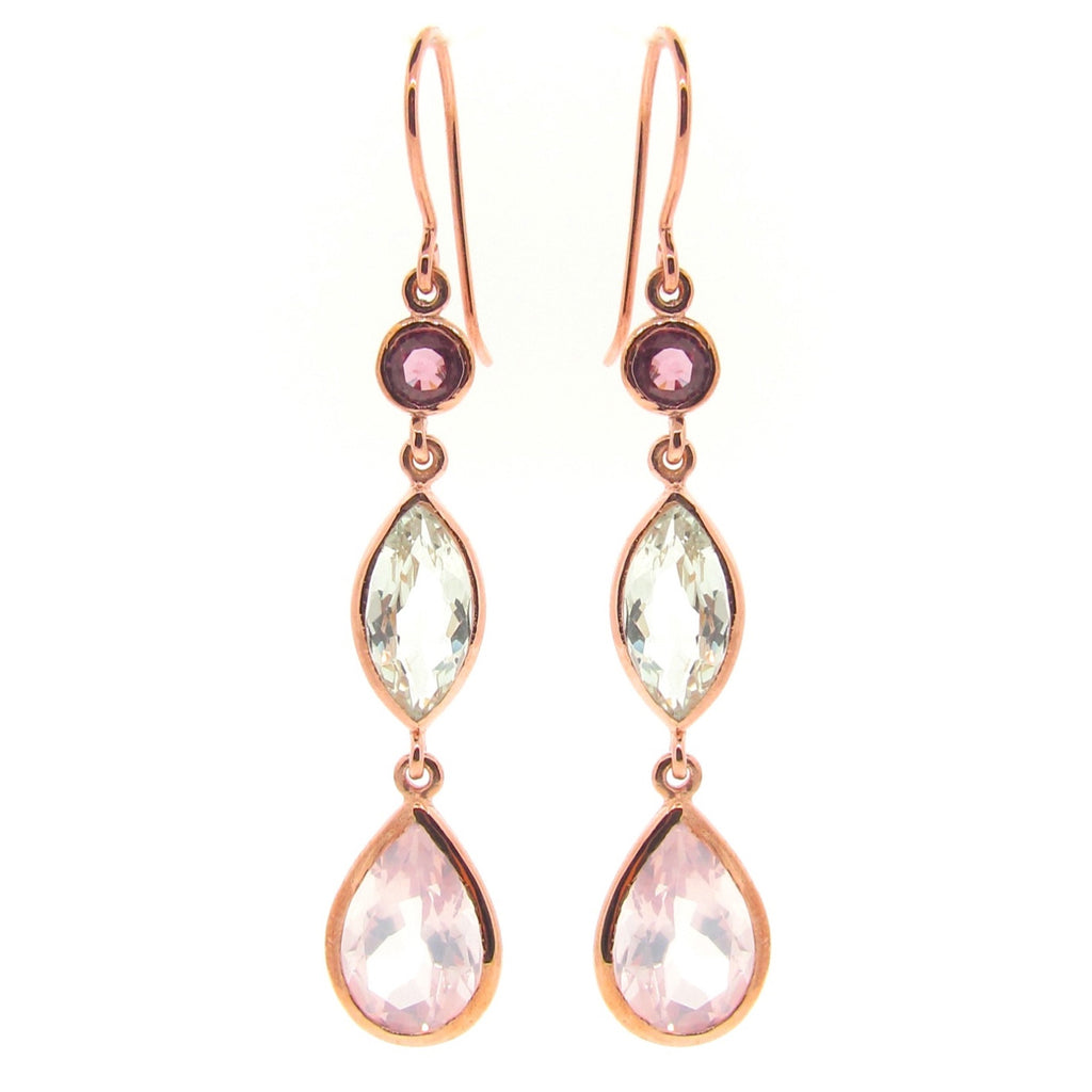 Rose Gold 'Coloured Love' triple drop earrings
