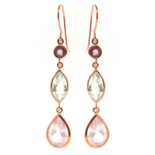 Rose Gold Coloured Love triple drop earrings