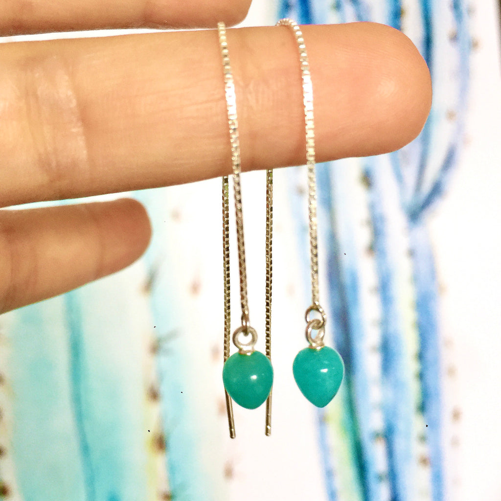 Silver Amazonite thread through Earrings