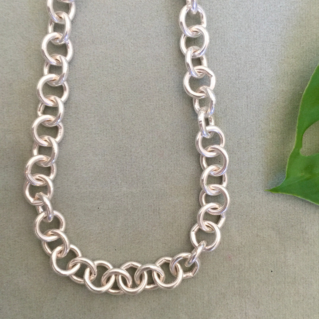Sterling Silver Heavy round link Chain Necklace 45cm