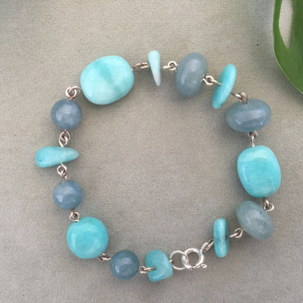 Amazonite and Aquamarine silver bead Bracelet