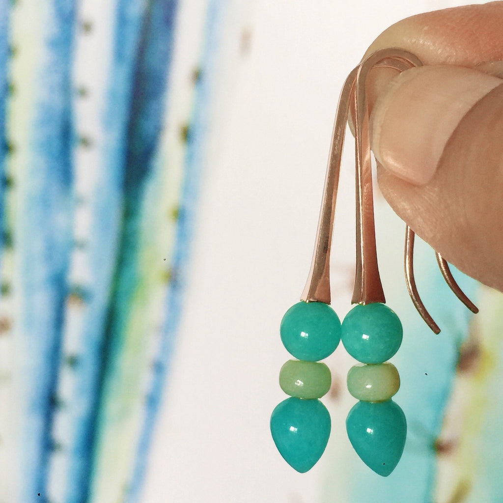 Rose Gold Triple Amazonite Drop Earrings