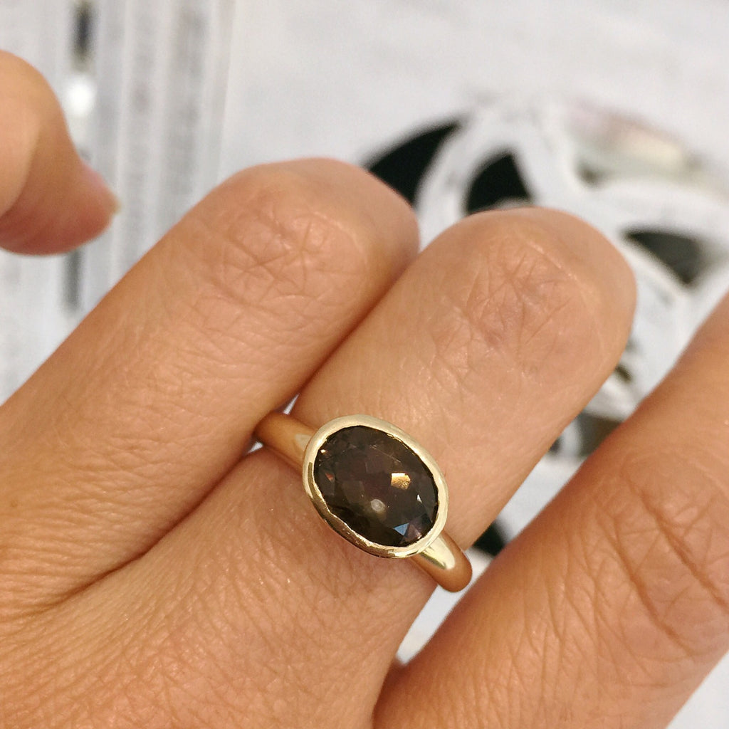 Yellow Gold Oval Smokey Quartz Simplicity Ring