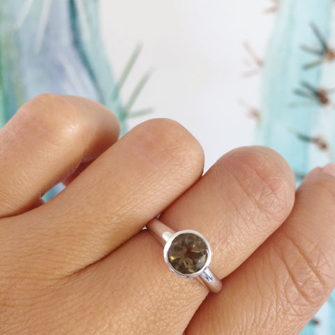 Sterling Silver Smokey Quartz Round Simplicity Ring