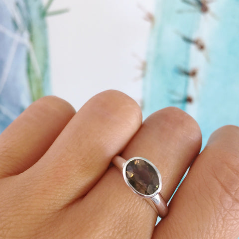 Sterling silver Oval Smokey Quartz Simplicity Ring