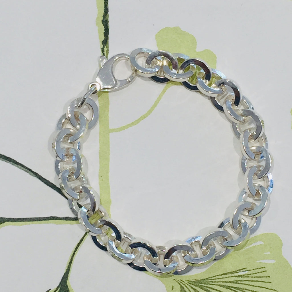 Sterling Silver Heavy round link Chain Bracelet 19cm