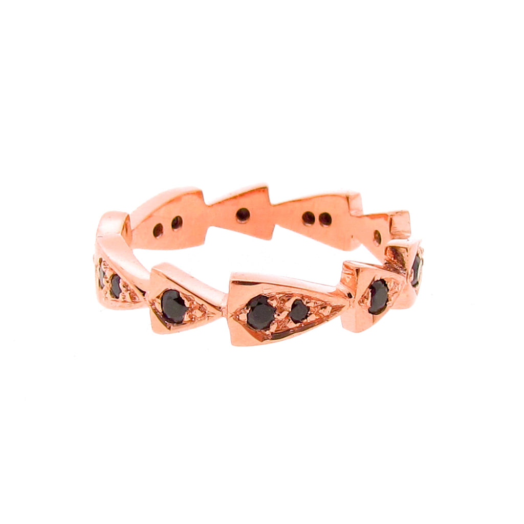 rose gold black spinel chasing arrows stackable band