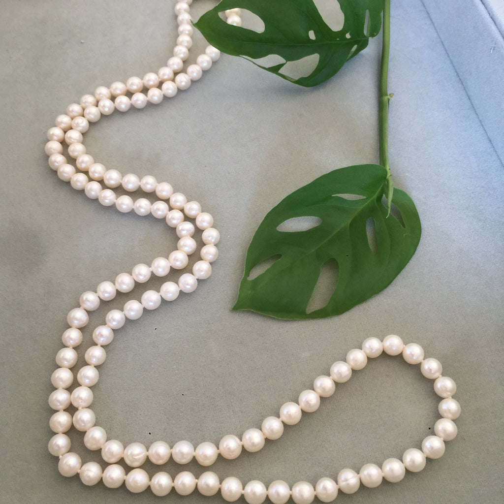 Long small White Freshwater Pearl Necklace