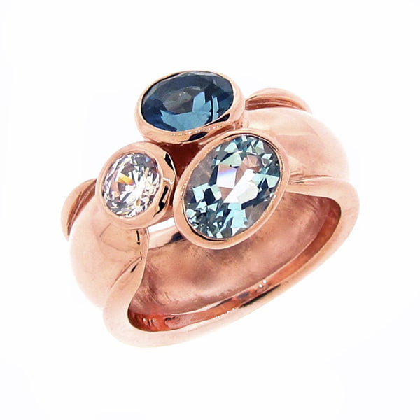 Rose gold Ocean 'Trinity' Ring