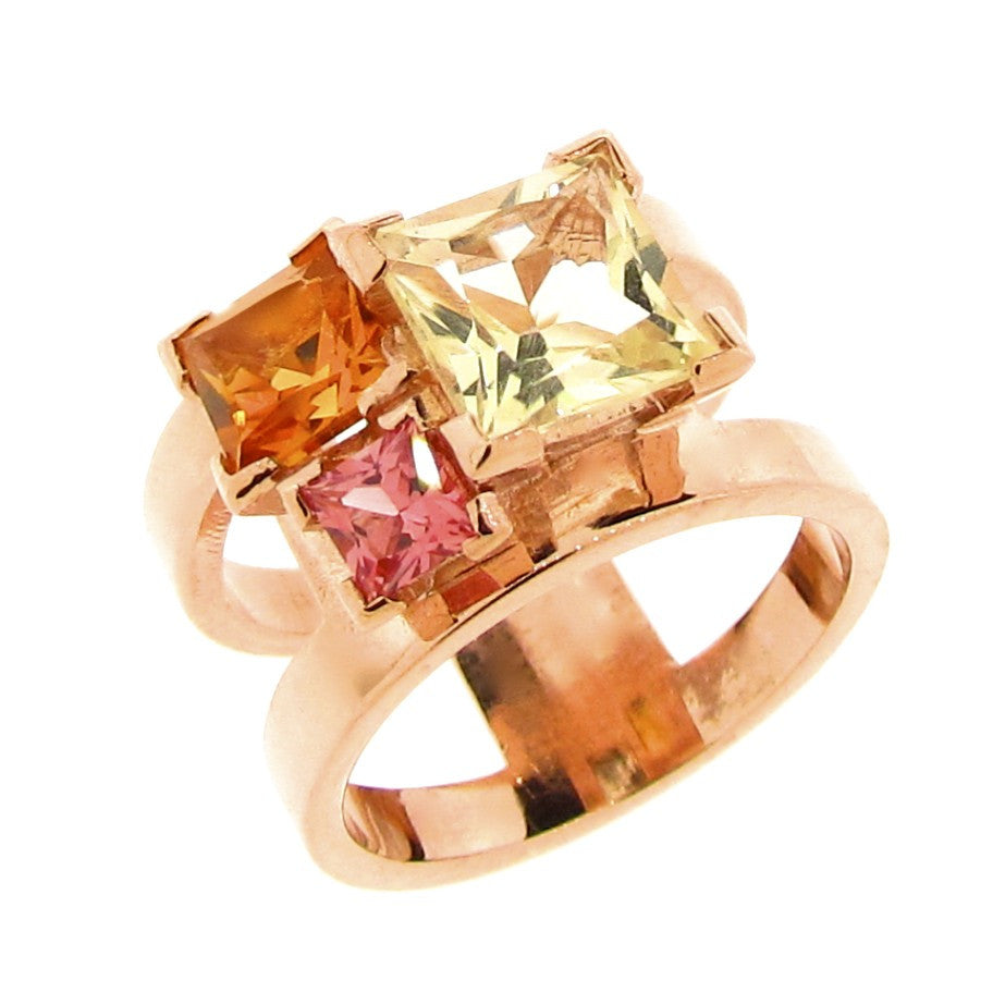 Rose gold 'Cubic Trinity' Ring