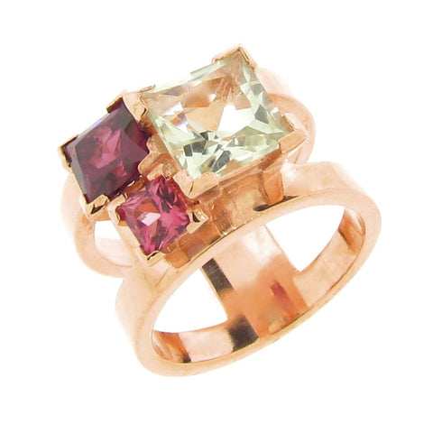 Rose gold Cubic Trinity Ring