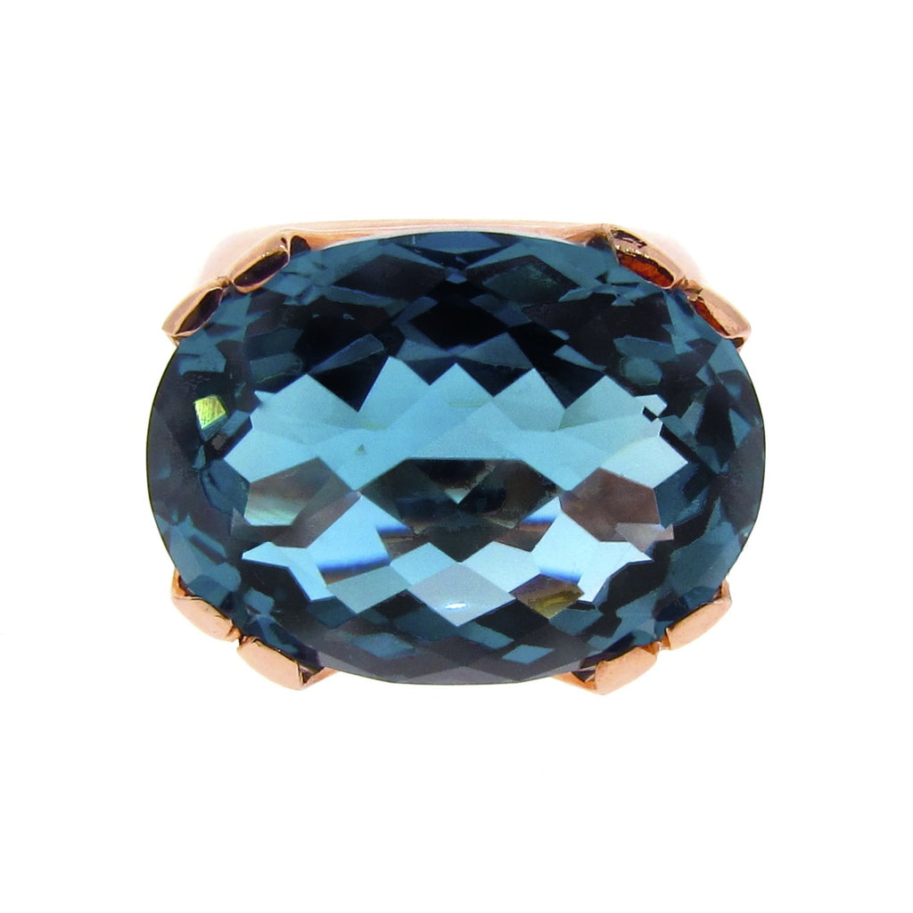 Rose Gold & London Blue Topaz 'Crown Cocktail' Ring