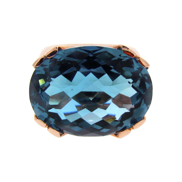 Rose Gold  London Blue Topaz Crown Cocktail Ring