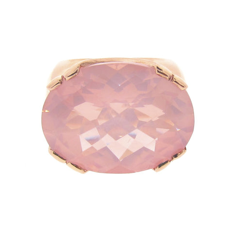 Rose Gold and Rose Quartz 'Crown Cocktail' Ring