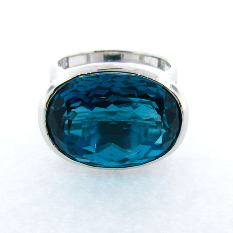 White gold London Blue Topaz 'Horizon' Ring