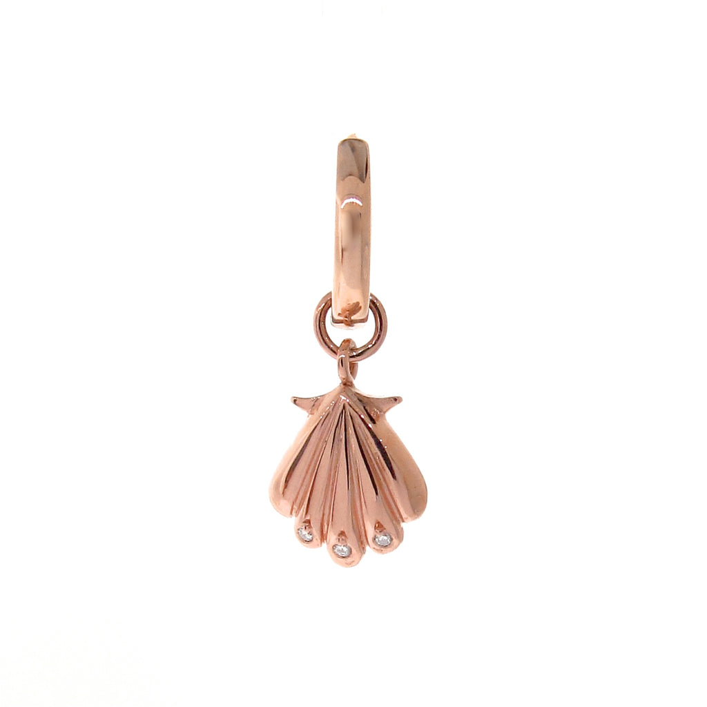 Rose Gold Diamond Clam Shell Huggie Charm