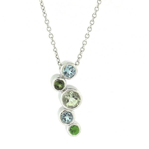 White Gold 'Line Bubbles' Pendant